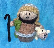 Knitting Pattern-Pastore e pecore COVER ARANCIONE/14cms Giocattolo Natale Natività