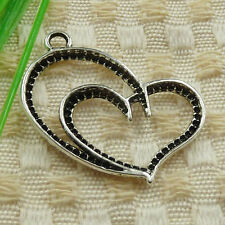 40pcs tibetan silver heart charms 32x25mm #4614