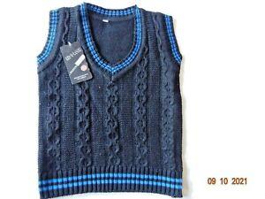Boys Knitted Tank Top Sleeveless Black V Neck Jumper Knit Waistcoat  2-10 Years