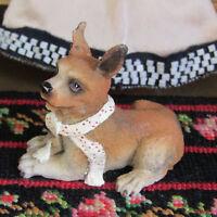 Miniature CHIHUAHUA PUPPY DOG Figurine Realistic Dollhouse Doll Pet Resin Animal
