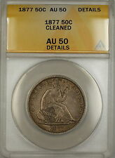 1877 Seated Liberty Silver Half Dollar 50c Coin - ANACS, AU-50, Details Cleaned!