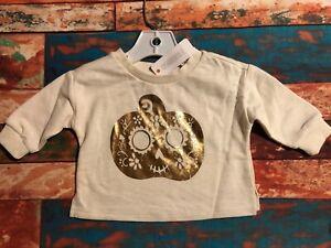 Gymboree Girls Halloween Jack O Lantern Fleece Shirt 3-6m Ivory Rose Gold