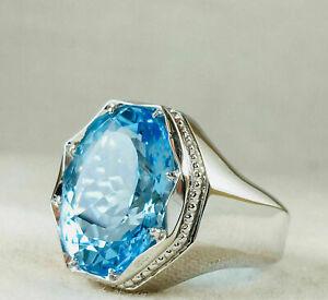 Solid 925 Sterling Silver Blue Topaz Gemstone Statement Partywear Boys Mens Ring