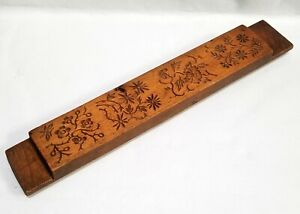 """Antique hndcrvd 20"""" Wood Slab Korean Rice Mold Floral Branches Cookie Press"""