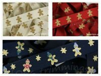 Gingerbread Man Christmas Grosgrain Ribbon  16mm Wide 3 Designs 1m 2m or 5m