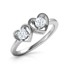 0.3Ct Round Cut VVS1 D Diamond Two Hearts Engagement Ring 14k Solid White Gold