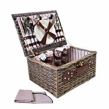 Deluxe 4 Person Picnic Basket Hamper Set Outdoor Fun Corporate Gift Blanket Park