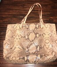 Michael Kors Embossed Python Snakeskin Tote Leather Brown Printed Bag Purse