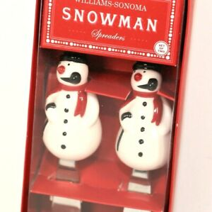 Williams-Sonoma Snowman Cheese or Dip Spreaders New In Box Christmas Servewear