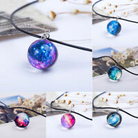 New Stars Short Glass Galaxy Pattern Necklaces Glass Pendant Necklace