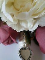 Stunning Bridal Memory Bouquet Charm heart-shaped Silver Locket & Gift Bag