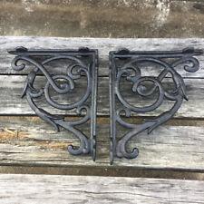 2 Pcs Cast Iron Antique Style HEART Brackets, Garden Braces Shelf Bracket Black