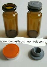 100 x 10ml CLEAR  or AMBER glass vials + stoppers + flip off lids