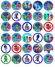 "30 PJ MASK 1.5"" ROUND (35mm) EDIBLE WAFER PAPER CUPCAKE CAKE TOPPERS #1"