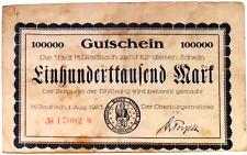 1923 Germany GLADBACH 100.000 Mark Banknote