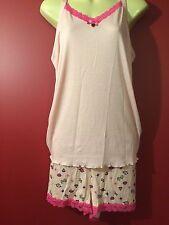 BETSEY JOHNSON Women's Pink Short PJ Pajama Set - Size Large - NWT $48
