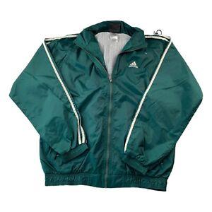 VTG 90s Adidas Green 3 Stripe Soccer Windbreaker Hood Track Jacket Men's Medium