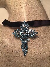 Vintage Real Gothic Blue Topaz 925 Sterling Silver Cross Necklace Choker