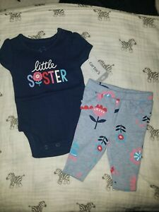 NWT Carter's Baby Girls Body Suit Pants Set Little Sister Size Newborn
