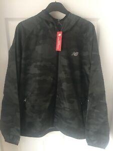 New Balance Mens Full Zip Green Camo Windbreaker Hooded Jacket Sizes S M L