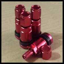 4 Bolt En Rojo Metal Auto Rueda neumático válvulas tallos Fit aleaciones incluye Polvo Tapas.