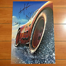 DISNEY PIXAR CARS 3 SIGNED 12x18 POSTER BY 5 CAST - OWEN WILSON w/ PROOF PHOTOS