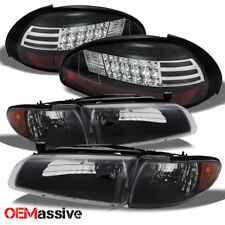 Fits 97-03 Grand Prix Black Bezel Headlights Replacement + LED Black Tail Lights