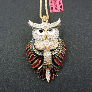 Hot Betsey Johnson Cute White Owl Crystal Animal Pendant Chain Necklace