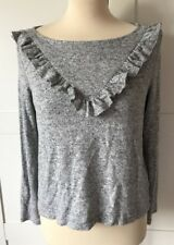 ONLY, Grey Slash Neck Sweater With Frill Detail, Size Small, WORN ONCE