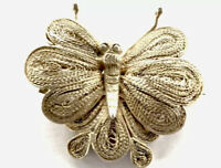 Vintage Silver Filigree Butterfly Moth Insect Brooch GIFT BOXED