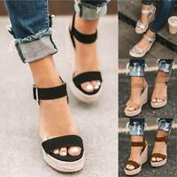 Women Wedge Heel Platform Espadrille Sandals Ankle Strap Buckle Peep Toe Shoes