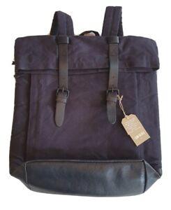 BNWT (UN)BIAS Men's navy waxed canvas rolltop backpack bag NEW rrp £60