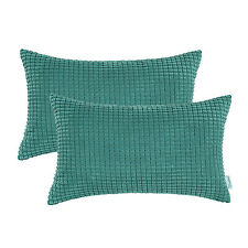 2Pcs Teal Cushion Covers Throw Pillows Shells Corduroy Corn Striped12'' X 20""