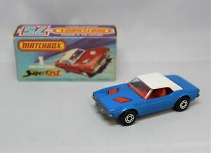"Matchbox Lesney No1 DODGE CHALLENGER in BLUE with "" RED INTERIOUR "" MIB"