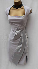 KAREN MILLEN Silver Grey Wool Blend Bow Galaxy Races Pencil Cocktail Dress 10 UK