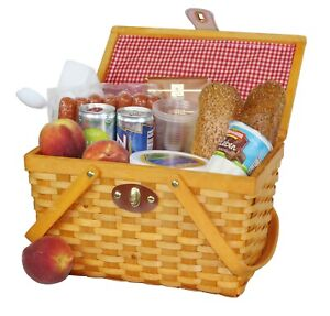 """New 12.5"""" Chipwood Picnic Basket with Folding Handles Lined with Red/white Plaid"""