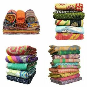 5 Pc Wholesale Lot Vintage Kantha Quilt Bedspreads Throw Blanket Bedding Indian