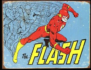 """Distressed Comic Book Tin Sign (Metal) DC The Flash Barry Allen 16 x 12.5"""" / New"""