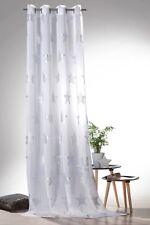Silberdruck Ösenschal STERNE Vorhang transparent in weiß silber Gardine Typ566