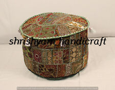 "18"" Home Decorative Round Pouf Cover Cotton Ethnic Indian Patchwork Ottoman Pouf"