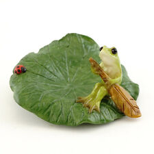 Miniature Frog Rowing Lotus Leaf Boat w Ladybug TO 4513 Dollhouse Fairy Garden