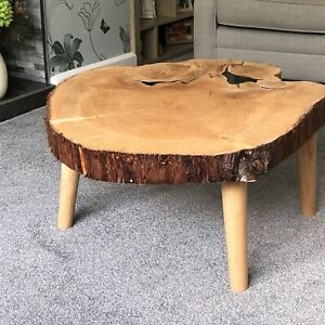 Unique Bespoke Rustic Coffee Table Solid Wood Log, Resin Inlay & Solid Wood Legs
