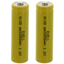 2x Exell AA 1.2V 1000mAh NiCD Button Top Rechargeable Cells Malibu Solar Lights