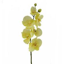 SETA Artificiale Orchidea STELO IN LATTICE 75cm Deep color panna/Limone pallido con fiori 6