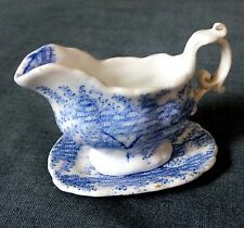 Very rare19th.C Miniature / Doll's House Sauce Boat & Stand by Alcock & Co.