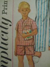 Vintage 50s Simplicity 1434 Boy SHORT or LONG PAJAMAS Sewing Pattern Sz 6 Child