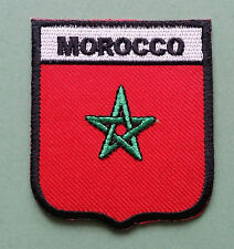 NATIONAL FLAG COUNTRY SHIELD SEW ON / IRON ON EMBROIDERED PATCH:- MOROCCO