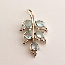 Gorgeous Blue Topaz Designer Pendant 925 Silver Rhodium-Plated Gemstone Blue