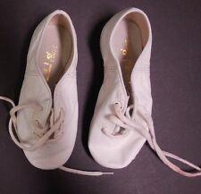 "Capezio CG02 Split sole white jazz shoes girls size 11M Leather 7"" long"
