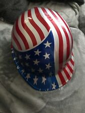 1997 Jackson Products Safety Cap Hard Hat Red White Blue USA Flag 6 1/2 - 8